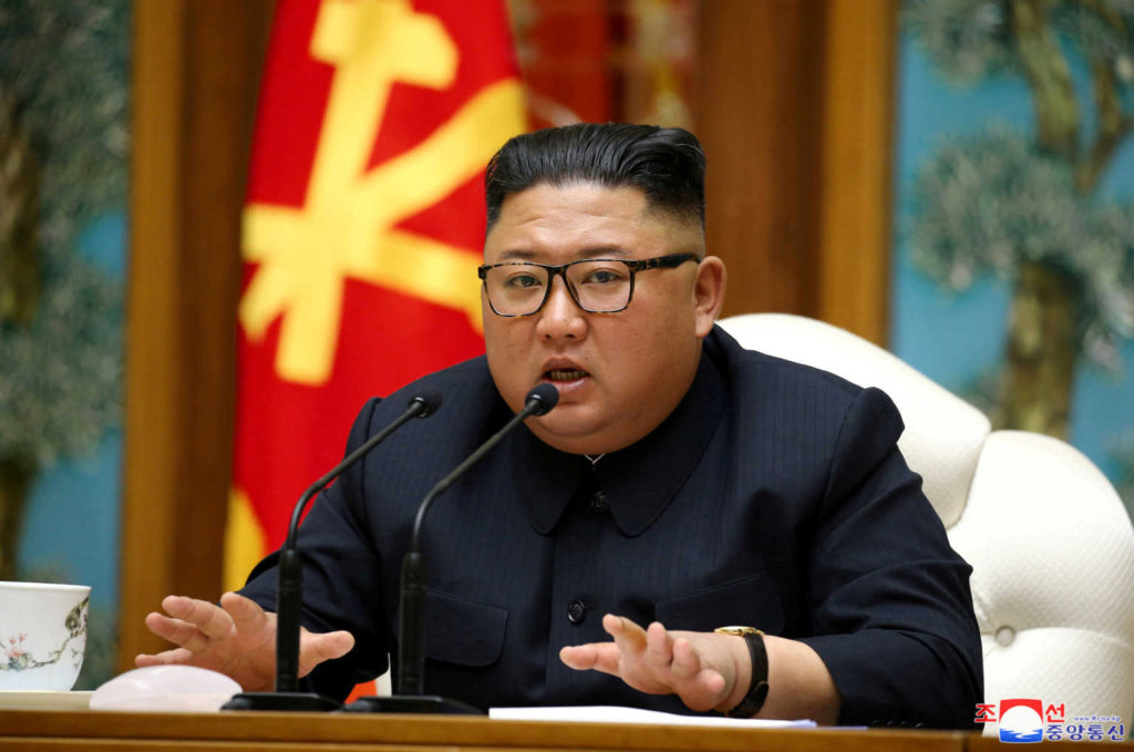 FILE PHOTO: North Korean leader Kim Jong Un takes part in a meeting of the Political Bureau of the Central Committee of the Workers' Party of Korea